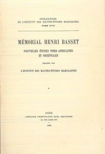 Mémorial Henri Basset-Nouvelles études nord-africaines et orientales