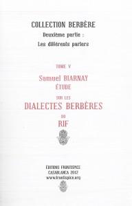 Etude sur dialectes du Rif-Biarnay
