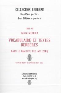 Vocabulaire et textes dans le dialecte Ait Izdeg-Mercier